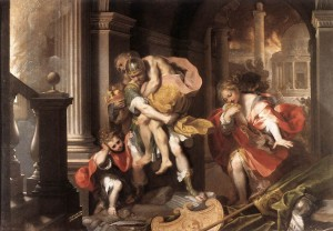 Aeneas opúšťa horiacu Tróju